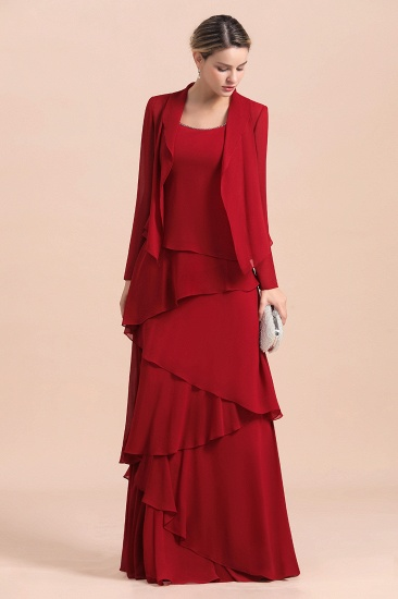 BMbridal Elegant Burgundy Chiffon Mother of the Bride Dress Ruffles With Jacket_5