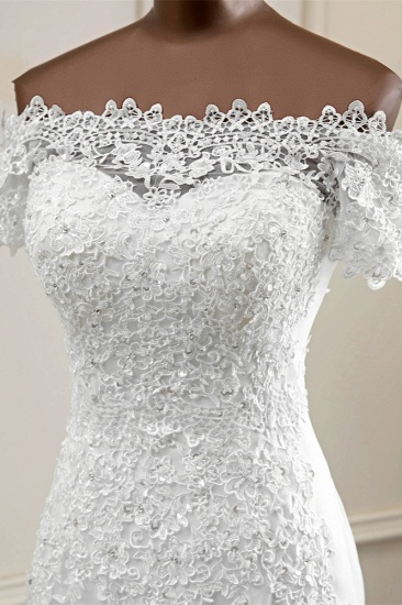 Gorgeous Off-the-Shoulder Lace Mermaid Wedding Dresses Short Sleeves Rhinestons Bridal Gowns_7
