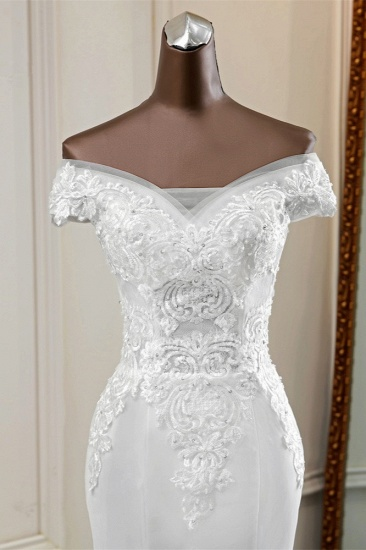 BMbridal Elegant Off-the-Shoulder Sleeveless White Mermaid Wedding Dresses with Beadings_6