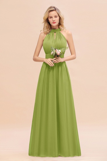 Glamorous High-Neck Halter Bridesmaid Affordable Dresses with Ruffle_34