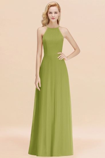 Modest High-Neck Yellow Chiffon Affordable Bridesmaid Dresses Online_34