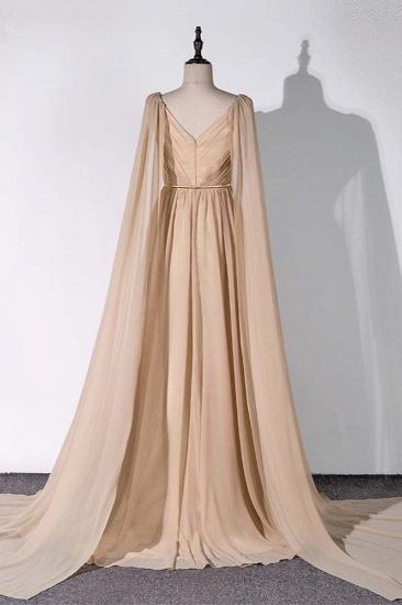 Chic Chiffon V-Neck Ruffle Prom Dresses with Beadings Sash On Sale_3