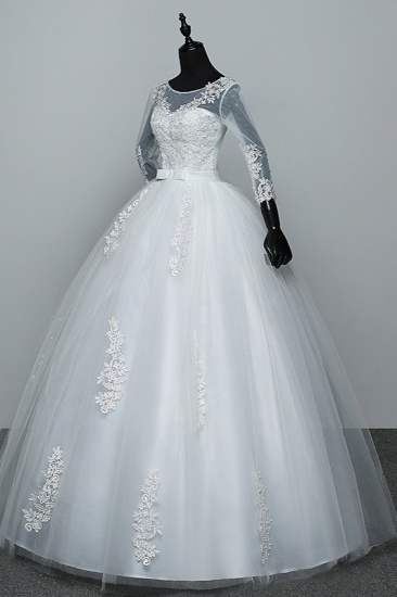 BMbridal Gorgeous Jewel Tulle Lace White Wedding Dresses 3/4 Sleeves Appliques Bridal Gowns On Sale_5
