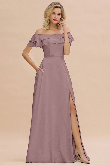 Exquisite Off-the-shoulder Slit Mint Green Bridesmaid Dress With Pockets_37