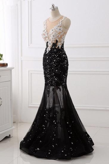 Luxury Tulle Jewel Appliques Mermaid Prom Dresses with Rhinestone Online_4