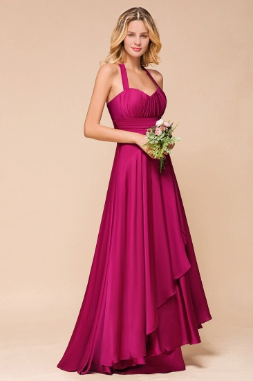 Fuchsia Halter Chiffon Bridesmaid Dresses Long Online_8