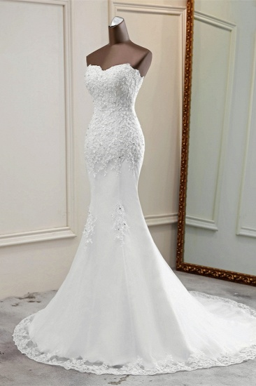 BMbridal Chic Strapless Lace Appliques White Mermaid Wedding Dresses with Beadings Online_5