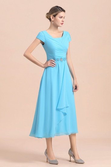 Blue Short Sleeves Chiffon Mother of the Bride Dress Tea-Length Online_5