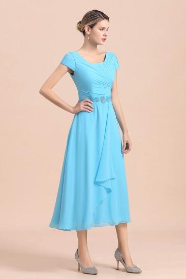 BMbridal Blue Short Sleeves Chiffon Mother of the Bride Dress Tea-Length Online_5