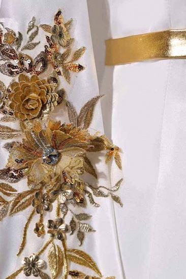 Elegant Satin Jewel Appliques Long Prom Dresses with Sash Online_6