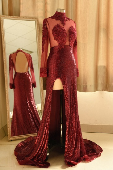 Sexy High-Neck Burgundy Sequined Slit Prom Dresses Long Sleeves Appliques Backless Formal Dress with Sheer Top_4