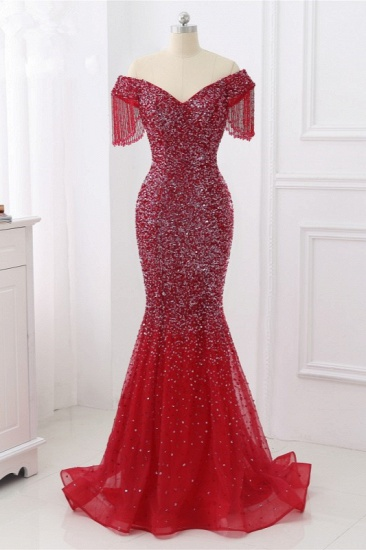 Luxury Off-the-Shoulder Sequins Burgundy Mermaid Prom Dresses with Tassels_1