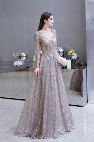 BMbridal Sexy V-Neck Long Sleeve Prom Dress Appliques A-Line Evening Gowns_10