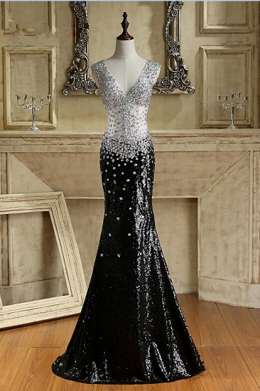 Sparkly V-Neck Black Sequined Prom Dresses Mermaid Sleeveless Crystals Party Dresses On Sale