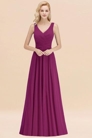 Modest Sleeveless V-Neck Long Chiffon Bridesmaid Dress Online with Ruffle_42