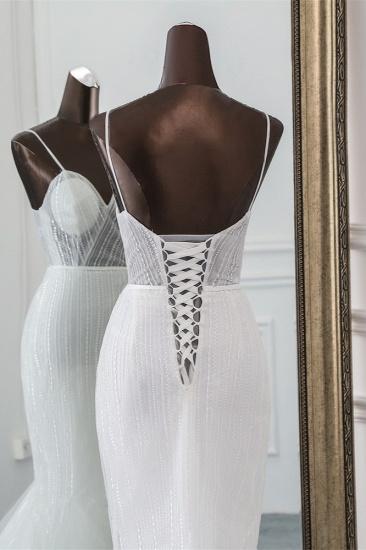 BMbridal Sexy Tulle Spaghetti Straps Mermaid White Wedding Dresses with Rhinestones Online_7