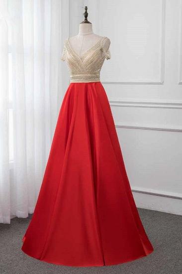 Glamorous V-Neck Rhinestone Burgundy Mermaid Prom Dresses with Cold Sleeves Online_4