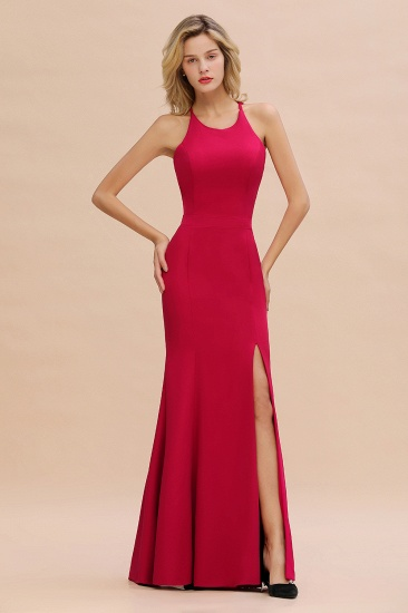Sexy Red Halter Mermaid Prom Dress Long Evening Gowns Online_5