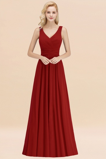 Modest Sleeveless V-Neck Long Chiffon Bridesmaid Dress Online with Ruffle_48