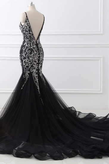 BMbridal Gorgeous Spaghetti Straps Black Mermaid Prom Dresses with Rhinestones Online_5