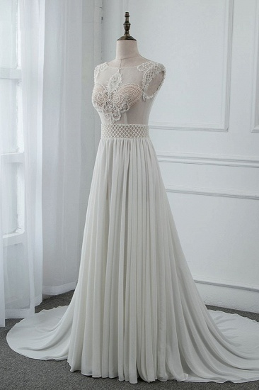 Sexy Jewel Sleeveless Chiffon Wedding Dresses See Through Top Bridal Gowns On Sale_4