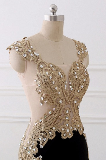 Affordabe V-Neck Sleeveless Mermaid Prom Dresses Gold Appliques with Crystals_7