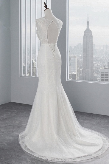 BMbridal Glamorous Jewel Sleeveless Rhinestone White Mermaid Wedding Dresses with Appliques_5