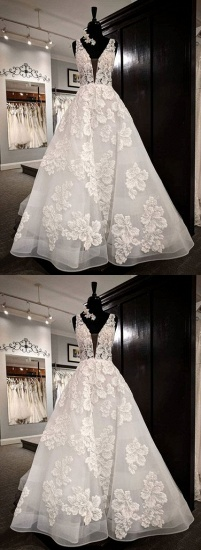 BMbridal Glamorous White Tulle V-Neck Flower Long Wedding Dress Lace Applique Bridal Gowns On Sale_3