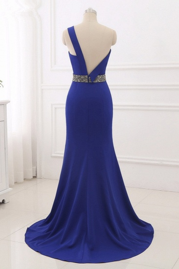Chic One-Shoulder Sleeveless Mermaid Prom Dresses with Beadings Sash On Sale_3