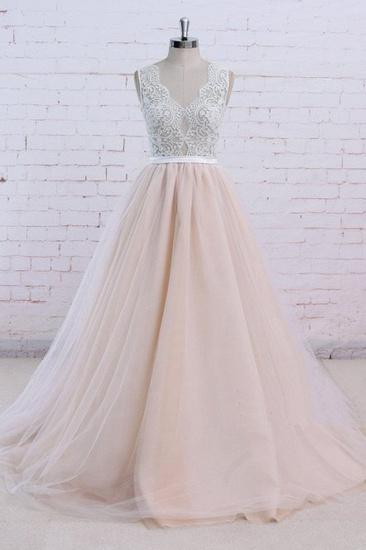 AffordableBlush Pink Tulle Wedding Dress Ivory Lace V-Neck Vintage Bridal Gowns On Sale_1