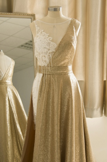 BMbridal Stylish Jewel Gold Sequined A-Line Prom Dresses Sleeveless White Appliques Evening Dress with Beadings_5