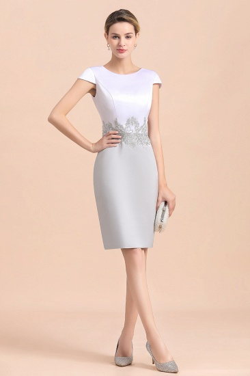 Elegant Silve Short Mother Of the Bride Dress Knee-Length Wedding Party Gowns_11
