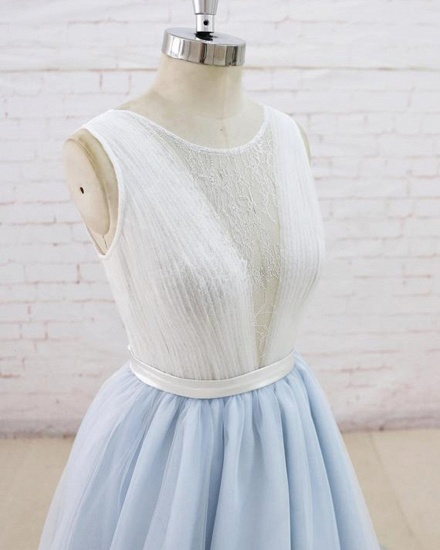 Gorgeous Light Blue Tulle Lace Wedding Dress Sheer Back Summer Bridal Gowns On Sale_5