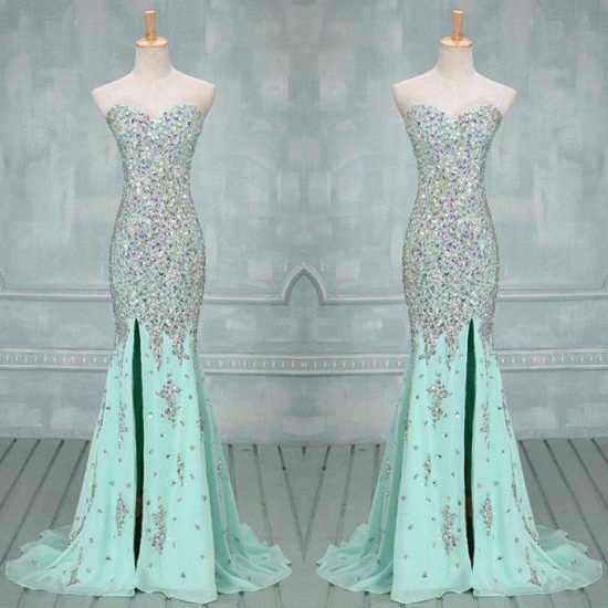 Gorgeous Sweetheart Crystal Prom Dress Long Mermaid Evening Gowns_4