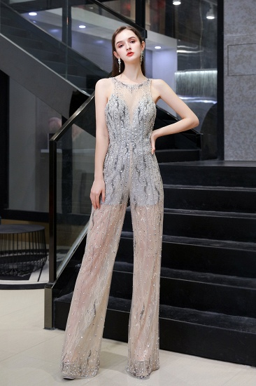BMbridal Glamorous Jewel Sleeveless Tulle Evening Jumpsuit with Sequins