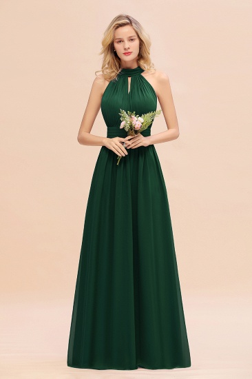 Glamorous High-Neck Halter Bridesmaid Affordable Dresses with Ruffle_31