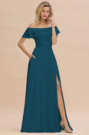 Exquisite Off-the-shoulder Slit Mint Green Bridesmaid Dress With Pockets_27