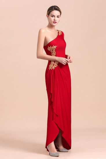 Chic One-Shoulder Long Sleeves Ruffle Mother of Bride Dresses with Appliques_6