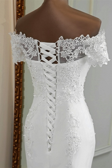 Gorgeous Off-the-Shoulder Lace Mermaid Wedding Dresses Short Sleeves Rhinestons Bridal Gowns_8