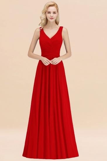 Modest Sleeveless V-Neck Long Chiffon Bridesmaid Dress Online with Ruffle_8