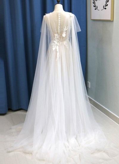 BMbridal Glamorous White Tulle V-Neck Beach Wedding Dress A Line Flower Bridal Gowns On Sale_3