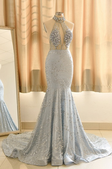 Luxurious Halter Rhinestones Prom Dress Mermaid Long Online_5