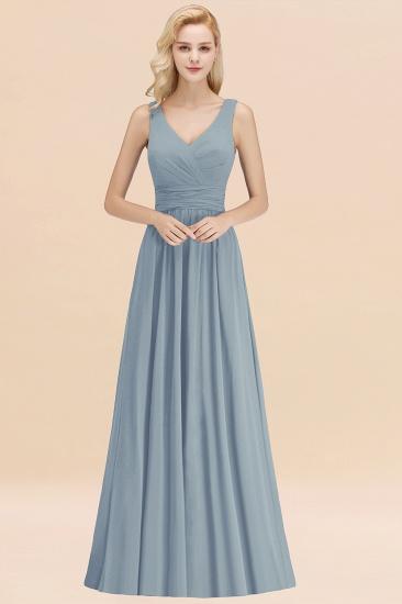 Modest Sleeveless V-Neck Long Chiffon Bridesmaid Dress Online with Ruffle_40