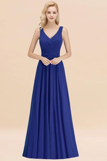 Modest Sleeveless V-Neck Long Chiffon Bridesmaid Dress Online with Ruffle_26