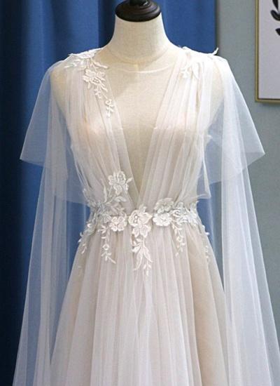 BMbridal Glamorous White Tulle V-Neck Beach Wedding Dress A Line Flower Bridal Gowns On Sale_4