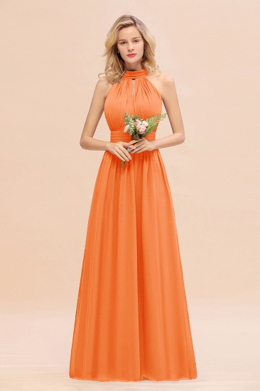 Glamorous High-Neck Halter Bridesmaid Affordable Dresses with Ruffle_15