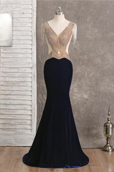 BMbridal Chic V-Neck Mermaid Black Prom Dresses Sleeveless Beadings with Tassels Online_1