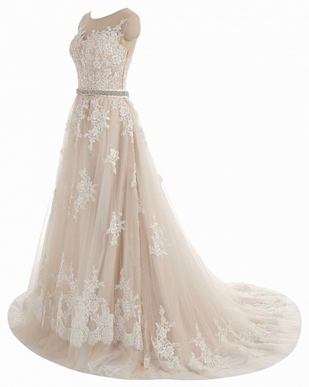 BMbridal Glamorous Creamy Tulle Round Neck Long Wedding Dress White Lace Applique Bridal Gowns On Sale_3