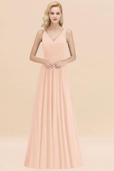 Modest Sleeveless V-Neck Long Chiffon Bridesmaid Dress Online with Ruffle_5