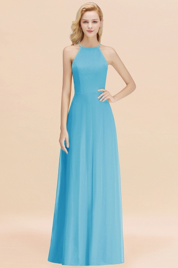 Modest High-Neck Yellow Chiffon Affordable Bridesmaid Dresses Online_24